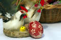 Easter eggs chickens for decorating and egg Royalty Free Stock Photography