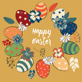Easter eggs in the circle colored in vintage style with colorful flowers and leaves. Vector illustration on gold background