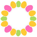 Easter eggs circle frame vibrant colors vector illustration Stock Image