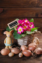 Easter eggs with clay rabbit and primula flowers in pot Royalty Free Stock Photo