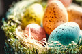 Easter eggs close up and details of decoration for the spring season showing colorful in a handcrafted basket Stock Image