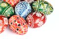 Easter eggs close up of on white background Royalty Free Stock Photo