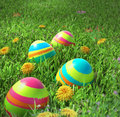 Easter eggs closeup on the grass Stock Photography