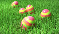 Easter eggs closeup on the grass Royalty Free Stock Images