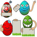 Easter eggs collection of different with banners serial Royalty Free Stock Photo