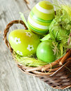 Easter eggs colorful in a basket holiday celebration Royalty Free Stock Images