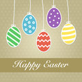 Easter eggs colorful hanging happy Royalty Free Stock Photo