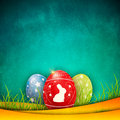 Easter eggs on cozy background various in the grass and beautiful Stock Photos
