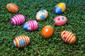 Easter eggs on cress Royalty Free Stock Photos