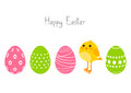 Easter eggs with cute chicken Royalty Free Stock Photography
