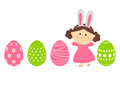 Easter eggs with cute girl isolated on white background Stock Photography