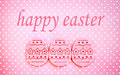 Easter eggs decorated felt pink on a pinky polka dots background Royalty Free Stock Photography
