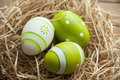 Easter eggs decoration in a hay nest Stock Image