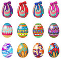 Easter eggs with designs and ribbons Royalty Free Stock Photo