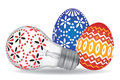 Easter eggs and easter bulb two light decorated as egg vector illustration Stock Photography