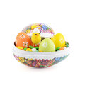 Easter eggs with Easter candy Royalty Free Stock Photo