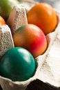 Easter eggs in egg box close up Royalty Free Stock Photos