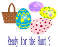 Easter eggs egg hunt with decorated and a basket isolated on white Royalty Free Stock Photography