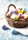 Easter eggs with feather in a basket Royalty Free Stock Photo