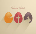 Easter eggs flat design with long shadow card Stock Photos