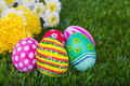 Easter Eggs with flower on Fresh Green Grass beautiful