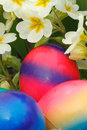 Easter eggs with flowers in a meadow Royalty Free Stock Photo