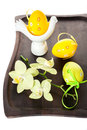Easter eggs and flowers of orchids. Easter composition. Royalty Free Stock Photo