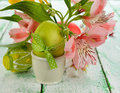 Easter eggs flowers white background Royalty Free Stock Photo