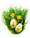 Easter eggs in fresh green grass isolated on white Royalty Free Stock Photos