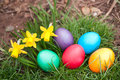 Easter eggs garden Stock Photo