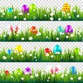 Easter eggs on grass with bunny rabbit ears set. Spring holidays in April. Sunday seasonal celebration with egg hunt. Royalty Free Stock Photo