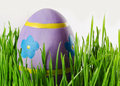Easter eggs in the grass decorated Stock Photography