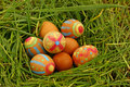 Easter eggs in grass in garden Royalty Free Stock Image