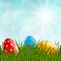 Easter eggs on grass green Stock Images