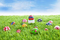 Easter eggs on grass horizontal Stock Photo