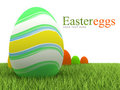 Easter eggs on grass - isolated on white Stock Photography