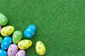 Easter eggs grass lawn Stock Photos