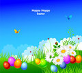 Easter eggs with grass and ribbon Stock Images