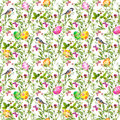 Easter eggs in grass. Seamless pattern - cute bird, flowers, butterflies. Watercolor Royalty Free Stock Photo