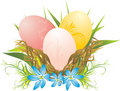 Easter eggs, grass and spring flowers Stock Photo