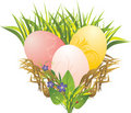 Easter eggs, grass, spring flowers and ladybird Royalty Free Stock Images