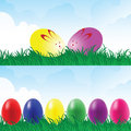 Easter eggs in a grassland. Royalty Free Stock Image