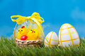Easter eggs green grass Stock Photo