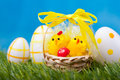 Easter eggs green grass Royalty Free Stock Images