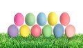 Easter Eggs In Green Grass. Co...