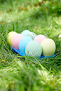 Easter Eggs On Green Grass. Ea...