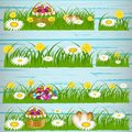 Easter eggs on the green grass.