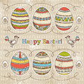 Easter eggs grunge background vector illustration Royalty Free Stock Images