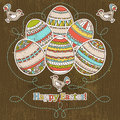 Easter eggs grunge wooden background vector Royalty Free Stock Images