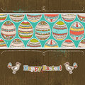 Easter eggs grunge wooden background vector illustration Stock Photos